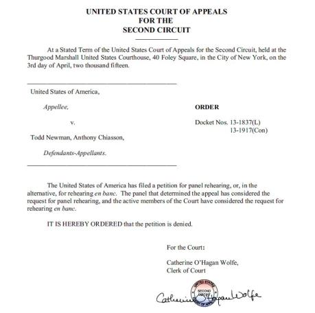 Newman Order on Petition for Rehearing En Banc
